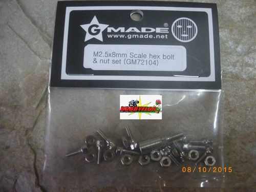 GM72104 M2.5x8mm Scale hex bolt & nut set