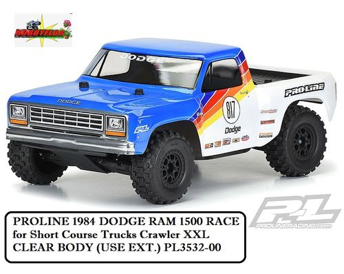 PROLINE 1984 DODGE RAM 1500 RACEfor Short Course Trucks Crawler XXL CLEAR BODY (USE EXT.) PL3532-00
