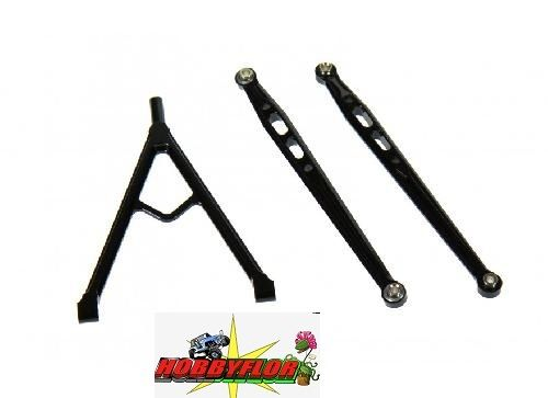 Axial SCX10 Alluminum Front Chassis Links Parts Tree - 3pcs Set - GPM SCX049 Negro