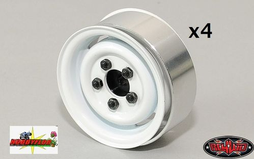 RC4WD 4x 1.55 Landies Vintage Stamped Steel Internal Beadlock Wheels (White) Z-W0076