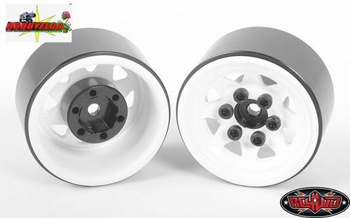 RC4WD STAMPED STEEL 1.0'' STOCK BEADLOCK WHEELS (WHITE) (4pc) hex 7mm Z-W0111