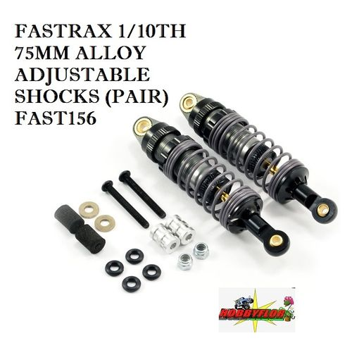 FASTRAX 1/10TH 75MM ALLOY ADJUSTABLE SHOCKS (PAIR) FAST156