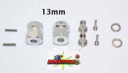 Gpm Alu Wheel 12mm Hex Adaptador/ensanchador 2 Piezas eje 5mm 13mm anchura Plata