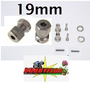 Gpm Alu Wheel 12mm Hex Adaptador/ensanchador 2 Piezas eje 5mm +19mm anchura Plata