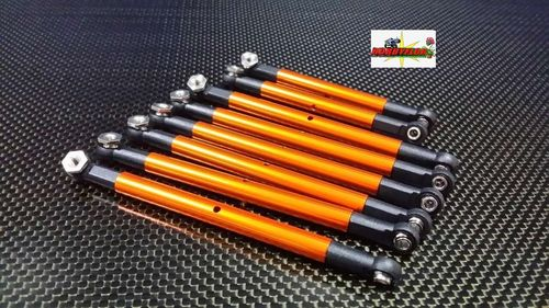 GPM TAMIYA CR-01 u otros modelos 8PCS SET LINK CR160 Orange/Gold (6 de 100mm y 2 de 80mm)