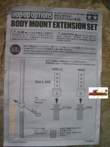 Tamiya Body mount postes extension (6mm - 4pc) 54604