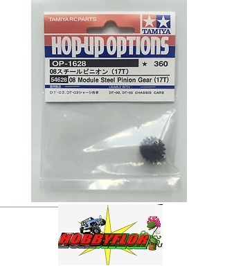 Tamiya RC Module 0.8 Steel Pinion Gear - 17T - Compatible with DT-03 and DT-02 chassis cars 54628