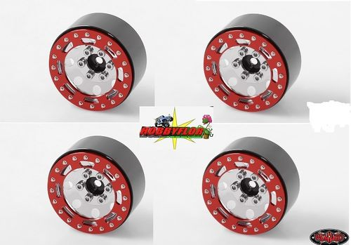 "RC4WD TRO 1.7"" STAMPED STEEL BEADLOCK WHEELS (RED/CHROME) (4PC) Z-W0225"