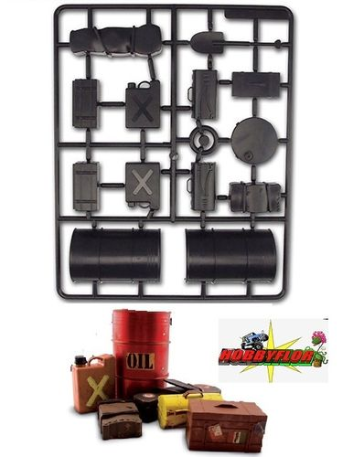 CARISMA M10DT ACCESSORIES SET 1/10 (bidon,pala,2 maletas,caja,maletin,jerry can) CA15005