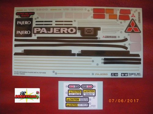 Tamiya 1/10 Pajero Metal Top Decals 47331