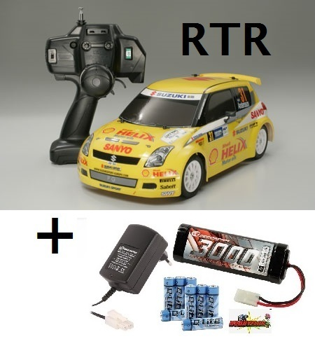 Tamiya RC RTR Suzuki Swift Super 1600 - M03M Germany '05 -27Mhz- 57754 (con pack bateria y cargador)
