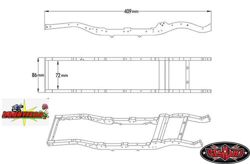 RC4WD Gelande 2 Chassis Set For D90 Body 409mm Long 3 Braces-Front Mt Z-C0040