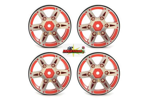 "FASTRAX 1.9"" HEAVYWEIGHT SPLIT 6-SPOKE ALLOY BEADLOCK WHEELS (4PC) FAST0146R"