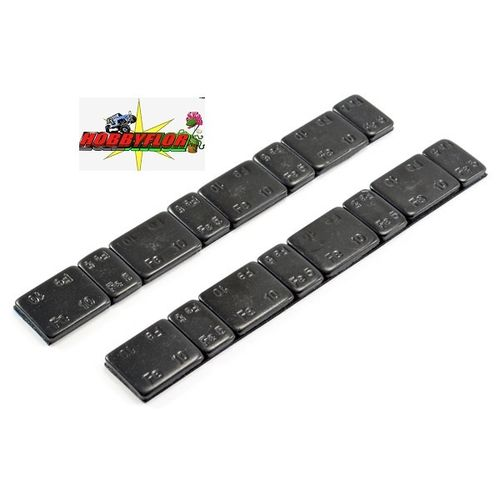 CENTRO BLACK CHASSIS WEIGHTS W/ADHESIVE 5G/10G X 2 STRIPS (120 GRAMOS) C0504