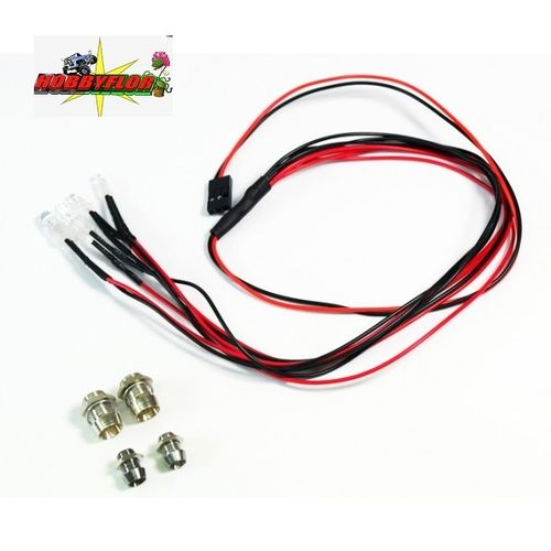 Absima LED set 2 white 5mm + 2 red 3mm with aluminum holder (directo a receptor Max 6v) 2320041